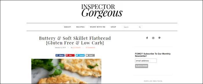 Website screenshot from Inspector Gorgeous