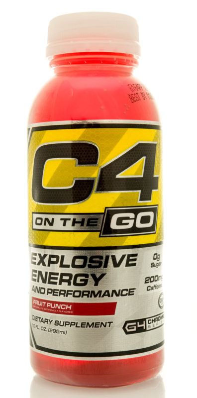 A pink plastic bottle of C4 Energy on the Go