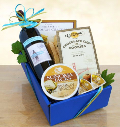 Blue box with wine, cheese and snacks