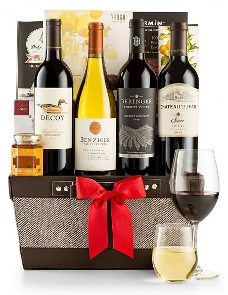 Container with a selection of wines, snacks and some wine glasses