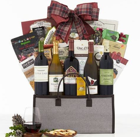 Selection of wine and snacks in a fabric container