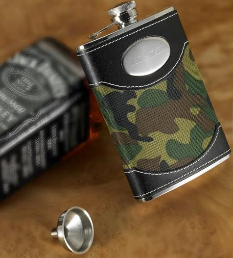 Camouflage-themed flask with black leather.