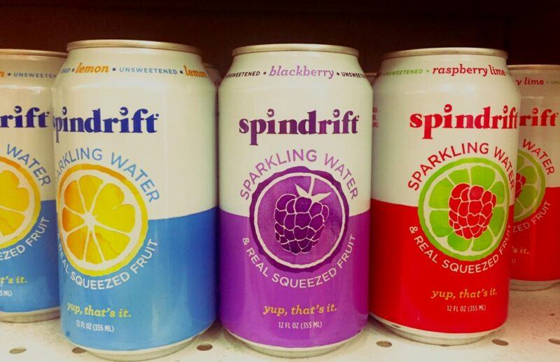 Three types of Spindrift sparkling water