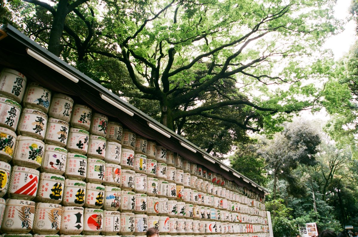 Sake of the month clubs - barrels of sake aging outdoors at the at Meiji Shrine