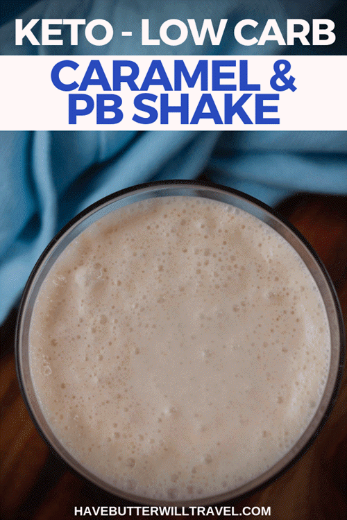 A top down image of a peanut butter and caramel shake