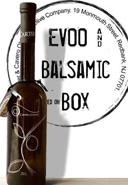 Balsamic vinegar against a logo