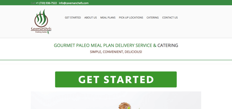 Caveman Chefs website screenshot, showing their various menus and a 'Get Started' Button