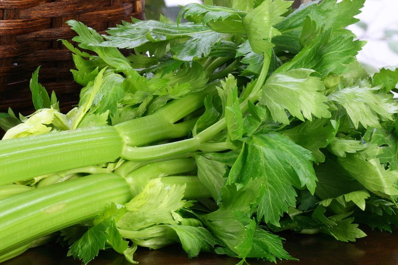 A bundle of light green celery lies on a dark tabletop next to a brown wicker basket.