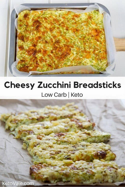 A loaf of cheese zucchini breadsticks and a cut up version of the same loaf