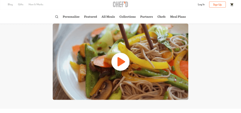 Chef'd Website Screenshot showing a bowl of noodles with peppers, carrots, and chopsticks