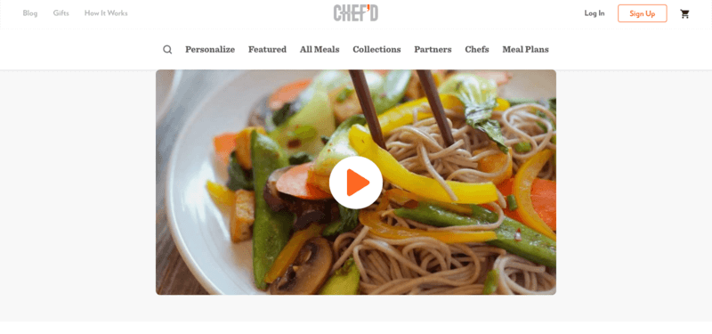 chef'd website screenshot showing a bowl with noodles, bell peppers, beans and mushrooms