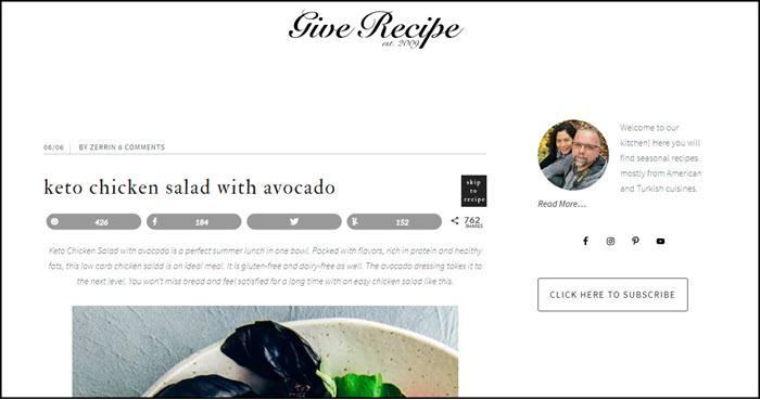Website screenshot from Give Recipe