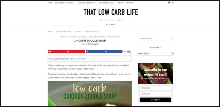 A website screenshot from That Low Carb Life