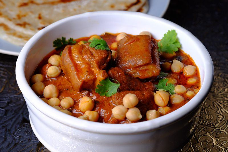 Slow Cooker Lamb and Chickpea Tandoori Stew BOWL WITH NAAN BREAD