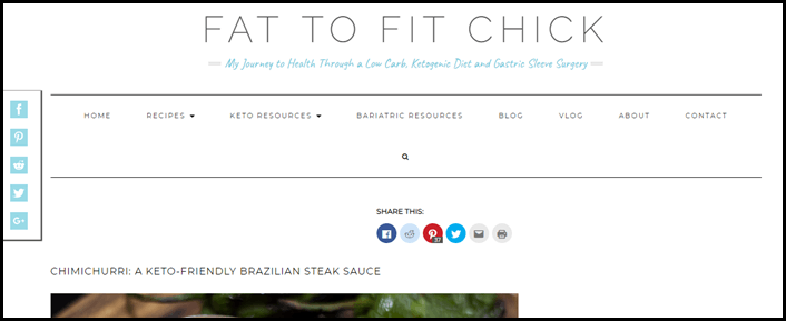 Website screenshot from Fat to Fit Chick