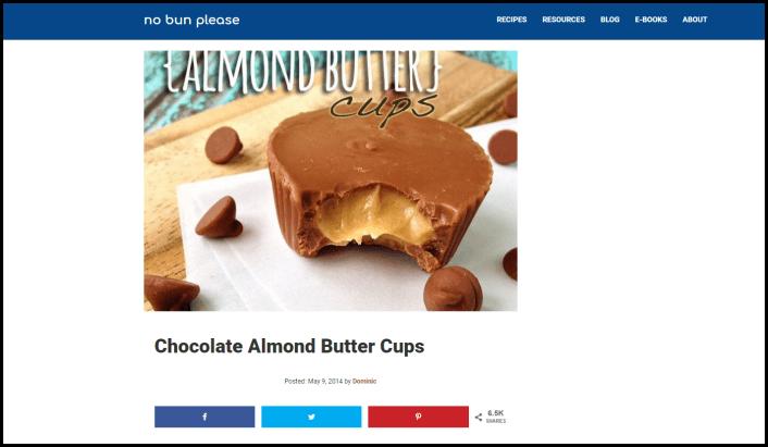 Website screenshot from No Bun Please