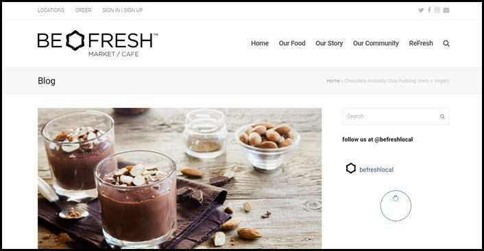 Website screenshot from Be Fresh