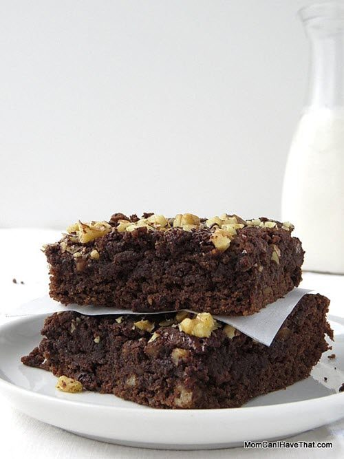 A pair of brownies on a white plate