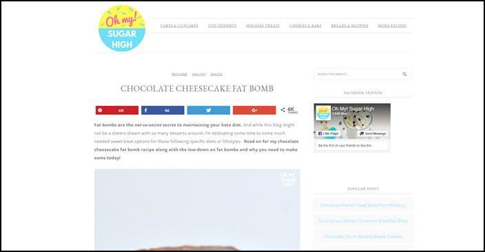 Website screenshot from Oh My Sugar High