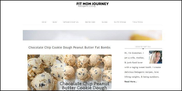 Website screenshot for Fit Mom Journey