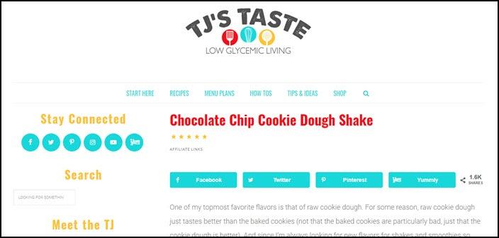 Website screenshot from TJs Taste
