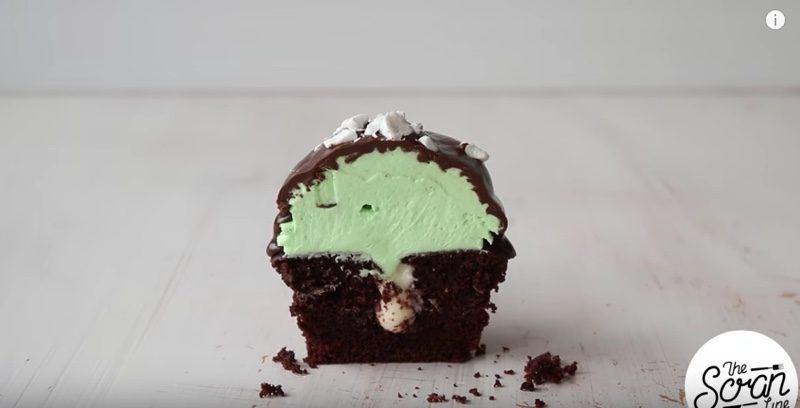 Chocolate Mint Cream Cupcakes cut half