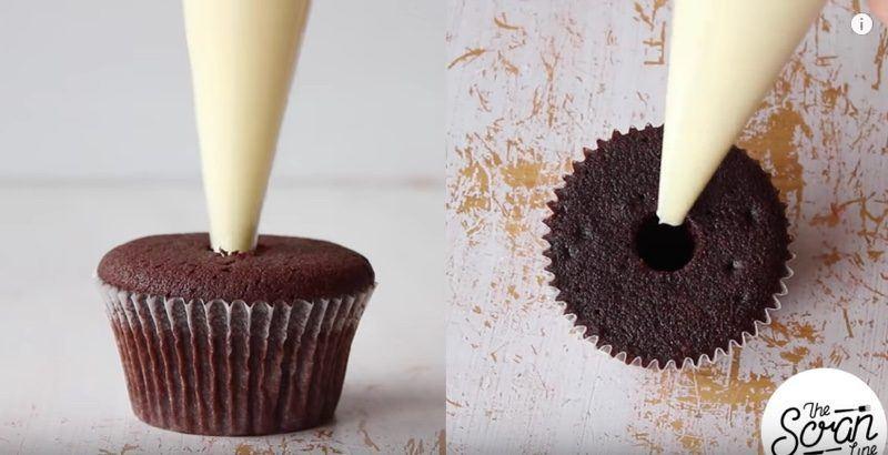 Chocolate Mint Cream Cupcakes filling 2