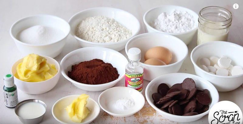 Chocolate Mint Cream Cupcakes ingredients