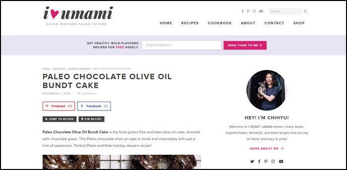 Website screenshot from I Heart Umami