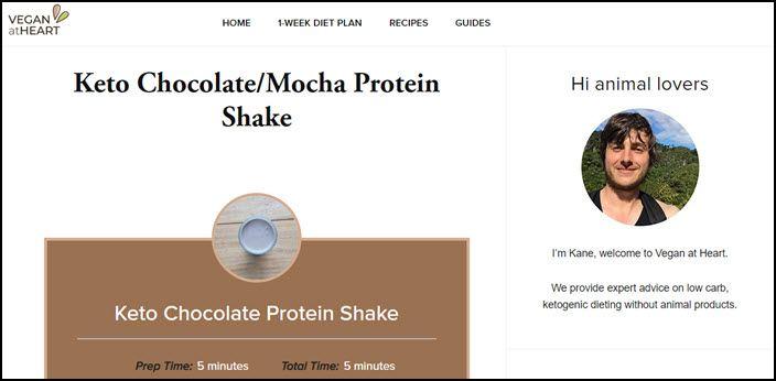Website screenshot from Vegan at Heart