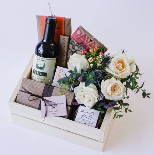 Light box with roses and treats