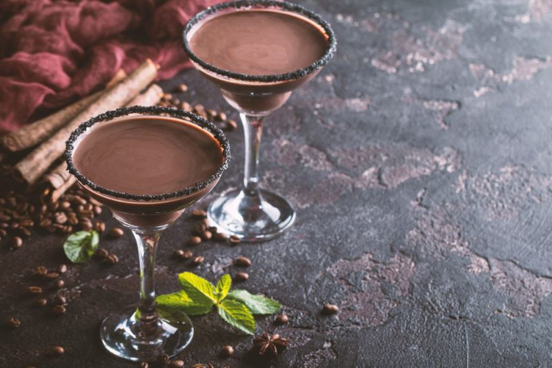 Two chocolate martinis in glasses