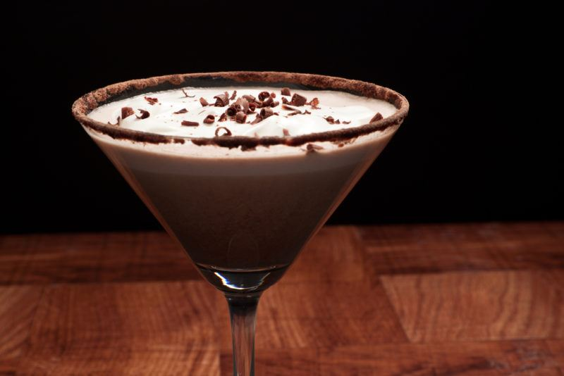 A chocolate martini on a wooden table