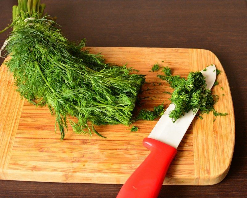 Chopping the dill