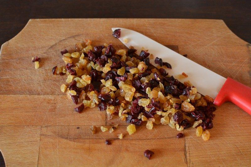 Chopping the dried fruits