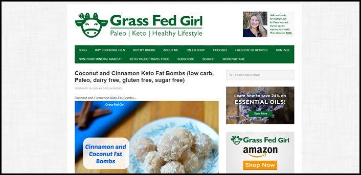 Website screenshot from Grassfed Girl