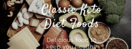 A selection of keto foods, including salmon, eggs, leafy greens and avocados