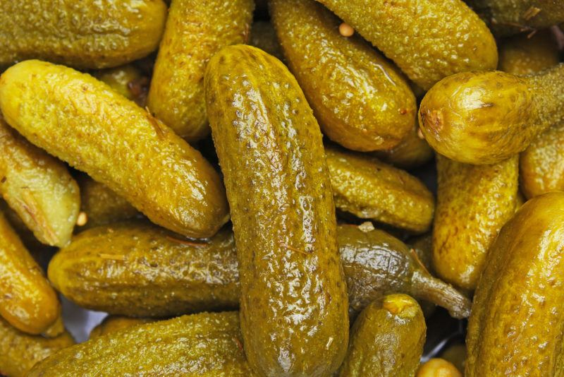 Close up image of pickles