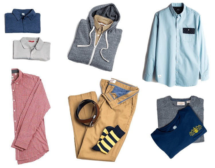 A white background with various clothing pieces from Threadlab laid out on it