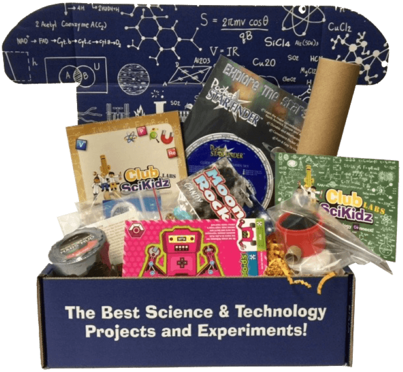 Club SciKidz Labs science kit of the month club box, full of science projects
