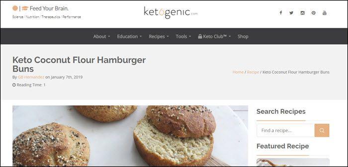 Website screenshot from Ketogenic