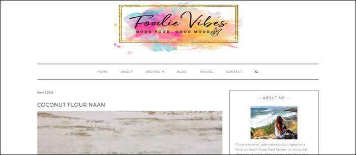 Website screenshot from Foodie Vibes