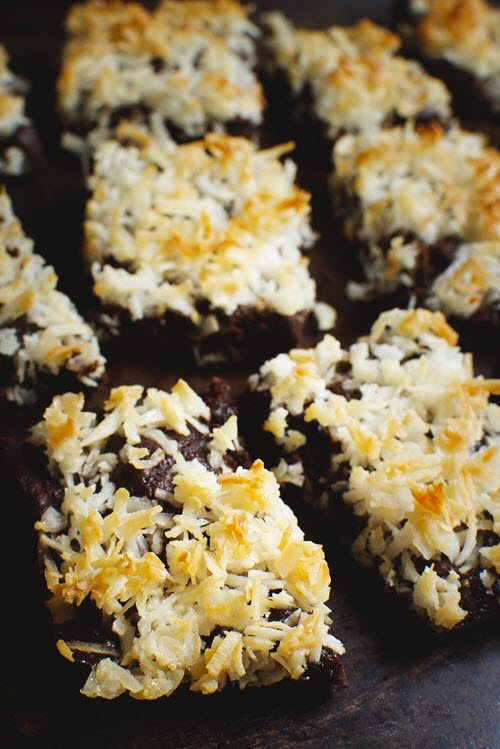 Various brownies with toasted coconut on the top