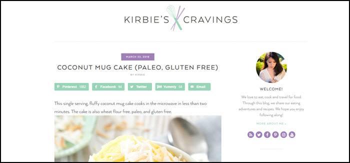 Website screenshot from Kirbie's Cravings