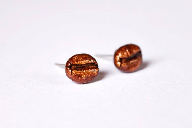 Coffee Bean Stud Earrings