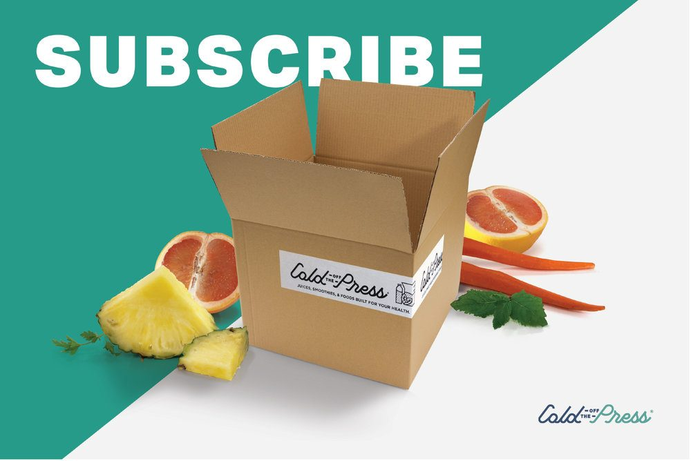 A rectangle picture cut diagonally in half, the upper half is aqua, and in white font says subscribe, a cardboard box in the middle, and around the base of the box grapefruit, pineapple, carrots, and sprigs of mint.  The box has a white sticker that says cold off the press.  In the lower right corner is the cold off the press logo