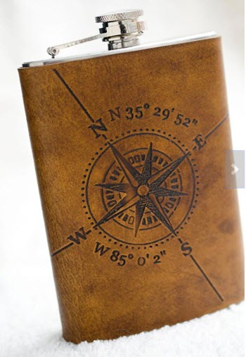 Leather flask with a compass and coordinates
