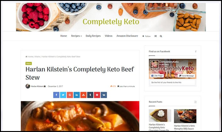 Website Screenshot from Completely Keto