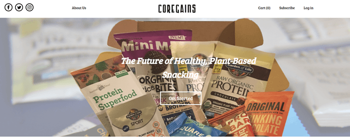 Core Gains website screenshot showing one of the subscription boxes with products like Raw Organic Protein and Protein Superfood.