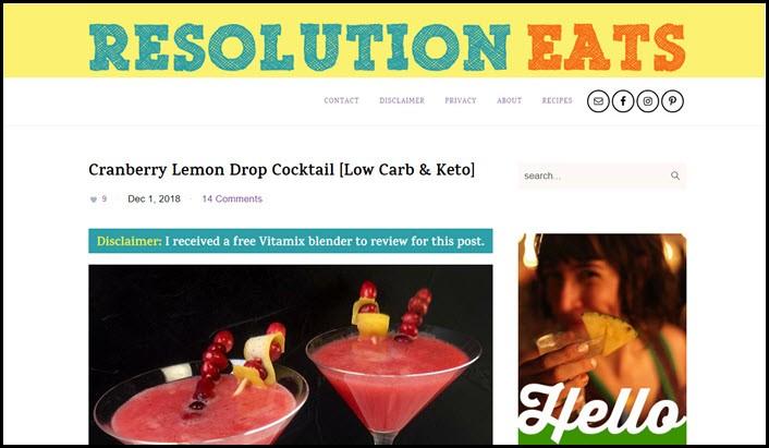 Website screenshot from Resolution Eats